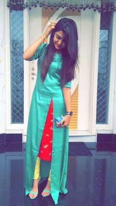 Different cut Kurtis Salwar Designs, Kurti Neck Designs, Kurti Designs Party Wear, Blouse Designs, Dress Designs, Pakistani Dresses, Indian Dresses, Indian Outfits, Indian Attire