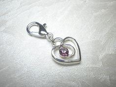 Bettelarmbänder - Charm Anhänger 'Herz mit Straß' - ein Designerstück von ElkesDesign bei DaWanda