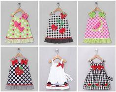 Several summer dresses with appliqués