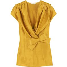 Oscar de la Renta Silk bow front blouse ($950) ❤ liked on Polyvore