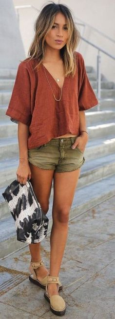 #spring #street #style #inspiration | Camel Loose Top, Khaki Denim Shorts, Black And White Bag, Tan Shoes | Sincerely Jules