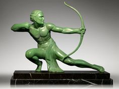 1930's Huge art deco archer. Signed by Salvatore Melani.