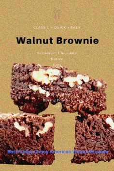 American Walnut Brownie is a pure delight to eat anytime of a day. This rich and homemade Brownie is an irresistible baked dessert.