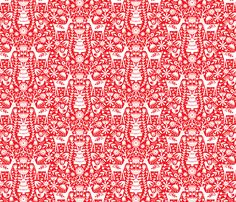 Nordic Reindeer - Red and White fabric by emilydyerdesign on Spoonflower - custom fabric