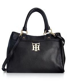 Tommy Hilfiger Handbag, TH Monogram Leather Convertible Shopper - Crossbody & Messenger Bags - Handbags & Accessories - Macy's
