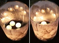 Glowing Luminaries with Candles Try this with some of the pictures from my Transcendence file!