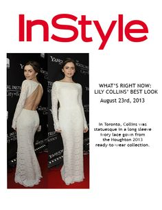 InStyle Lilly Collins wearing Houghtonnyc