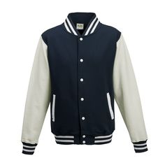 Just Hoods JH043 Oxford Navy and Arctic White Varsity Jacket - £19.35