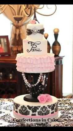 "Paris Cake Ideas---oh I LOVE this one!!! so cool how it's ""suspended"" on the chandelier!!"