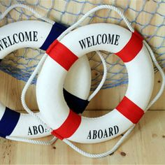 Umiwe 3 Size Navy Style Lifebuoy Nautical Welcome Aboard Sign In Home Decor Decorative Life Ring Room Bar Home Decoration $9.2