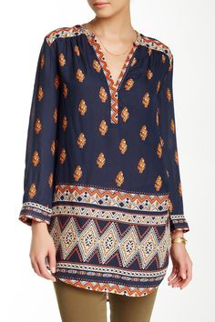 Bandana Stripe Tunic by Lucky Brand on @nordstrom_rack