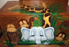 Jungle Toy Chest Custom Designed Done With Monogram Or Name, Kids Furniture, Art…