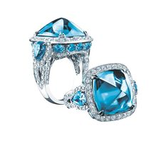 Robert Procop ring in white gold, from the Legacy Brooke collection, set with a 20.00ct sugarloaf blue topaz and diamonds ($16,000).