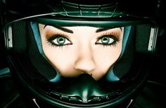 Motorcycle Helmet Woman Portrait