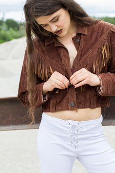 Vintage look by Dogdays of Summer with velvet faux leather fringe jacket and white lace-up bell bottoms White Lace, Lace Up, Fringe Leather Jacket, Vintage 70s, Bell Bottoms, White Shorts, Velvet, Summer, Jackets