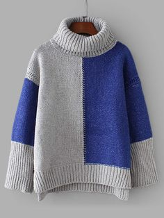 SheIn offers Colorblock D. SheIn offers Colorblock Drop Shoulder High Low Sweater & more to fit your fashionable needs. Style Feminin, Baby Pullover, Color Blocking, High Low, Fall Outfits, Knitwear, Knit Crochet, Knitting Patterns, Couture