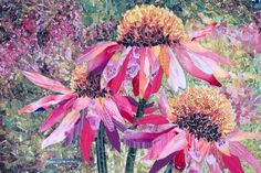 """Echinacea"" - torn and cut paper collage by Kath Coleman"