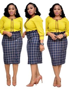 Plaid Stitching Button Plus Size Fake Dress – colintime Xl Fashion, African Fashion, Plus Size Fashion, Womens Fashion, Fashion Trends, Office Outfits Women, Maxi Dress With Sleeves, Classy Dress, High Waisted Skirt