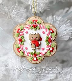 Handcrafted Polymer Clay Gingerbread man Ornament by Kay Miller. Polymer Clay Kunst, Polymer Clay Projects, Polymer Clay Creations, Polymer Clay Christmas, Diy Christmas Ornaments, How To Make Ornaments, Xmas, Crea Fimo, Polymer Clay Ornaments