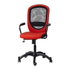 VILGOT/NOMINELL Swivel chair with armrests - red - IKEA