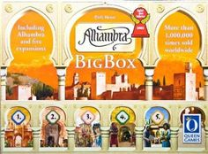 """Alhambra [with 5 expansions] -- """"In Granada, one of the most impressive building projects of the Middle Ages has begun: the construction of Alhambra. A palace, fortress, & a small city -- all-in-one. Alhambra is made up of the world's most beautiful gardens, pavilions, chambers & towers.The most prominent builders want to demonstrate their skills in building. Compete against your opponents to build the greatest and most impressive Alhambra."""""""