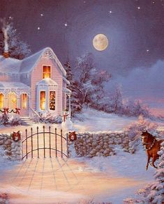 Horse carriage riding past a white house with christmas decorations. Wind is blowing and the stars are sparkling in te nighty sky. Christmas Scenes, Christmas Past, Christmas Greetings, Winter Christmas, Vintage Christmas Images, Victorian Christmas, Christmas Pictures, Illustration Noel, Christmas Illustration