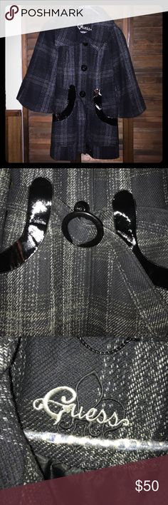 Guess Pea Coat in Plaid This peacoat is great for the upcoming winter! It was used only a few times and has been kept in storage, so in great condition. The plaid detailing adds just the right touch, along with the belt and decorative leather around the pockets. Free gift with purchase :) Guess Jackets & Coats Pea Coats