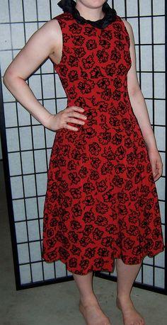 vintage 1980s Guy Laroche cherry red black flocked velvet taffeta party dress