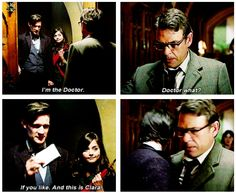 """Doctor Who: """"I'm the Doctor."""" """"Doctor what?"""" (gif)"""