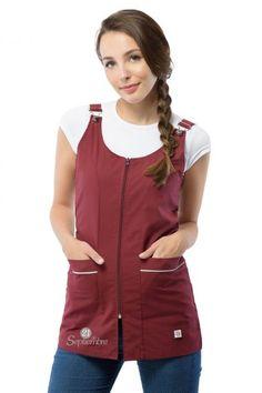 Poncho Jardinero - 21 de Septiembre Restaurant Uniforms, Cute Scrubs, Apron, Sewing Patterns, Crochet, Rompers, Plus Size, Couture, Denim