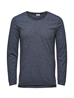 PREMIUM by JACK & JONES - Langärmeliges T-Shirt von PREMIUM - Long fit - Rundhals - Offene Kanten 50% Baumwolle, 50% Polyester...