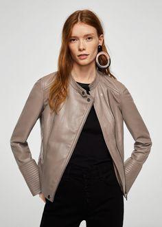 Zip leather jacket - Women | MANGO USA