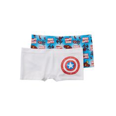Girls 6-16 Marvel Captain America 2-pk. Seamless Boyshorts, Girl's, Size: 10-12, Blue