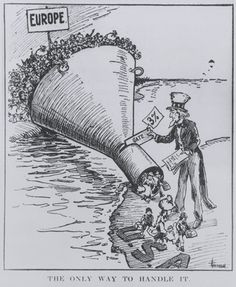 Find a summary, definition and facts about the 1921 Emergency Quota Act for kids. United States history and the 1921 Emergency Quota Act. Information about the 1921 Emergency Quota Act for kids, children, homework and schools. Political Satire, Political Cartoons, Immigration Act Of 1924, History Cartoon, Society Problems, Red Scare, History Classroom, Teaching History, School Classroom