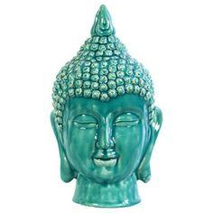 Cyan Gloss Buddha Head - 13.5 in.