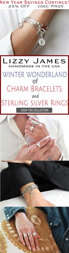 New Year Celebration Continues! 25% OFF sale + FREE Shipping for all 1st time buyers with coupon code PIN25 - let Lizzy James Jewelry help you stay in style in the New Year! Featuring leather charm bracelets & cotton cord wrap bracelets that can also be worn as necklaces. Our designs fit all wrist sizes from petite to plus size.  Plus our NEW Sterling Silver Ring Collection!  Proud to be made in the USA!  #lizzyjames