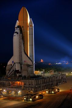 Space Shuttle. It's hard to judge the true size of the boosters and the shuttle itself.