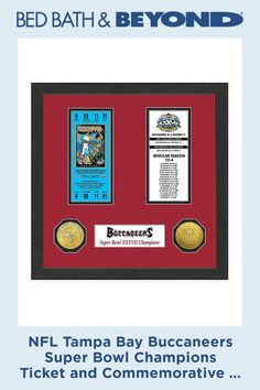 Celebrate your favorite NFL team's Super Bowl victories with this Super Bowl Champions Ticket and Commemorative Coin Collection. This exclusive piece comes double matted and wood framed-perfect for preserving treasured memories. Super Bowl Quotes, Commemorative Coins, Tampa Bay Buccaneers, Tampa Florida, Coin Collecting, Ticket, Nfl, Champion, Collection