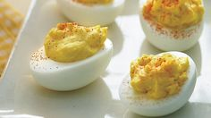 Make this Martha Stewart creamy deviled egg recipe in 30 minutes or less! Deviled eggs are one of Martha Stewart's favorite hors d'oeuvres and are a classic, crowd-pleasing party snack. Use our deviled egg recipe to help get your next party started!