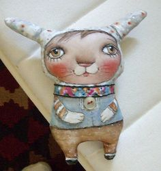 Original Art doll.    Bunny  with funny ears. Hand by miliaart