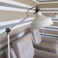 Lamp, Ikea Lamp, Algarve, Resort Decor, Stripes Interior Design, Clean, Fresh, Decoration, Decor, Eames Chairs, Living room, Dining room, grey, bege and white - Isabel Pires de Lima