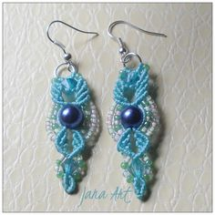 Blue earrings #handmade. #macrame #macramè #beads For info contact me on my fb page http://facebook.com/artelien