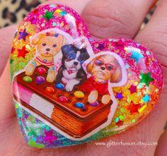 Rainbow Heart Kawaii 90's Lisa Frank Resin Ring by GlitterFusion