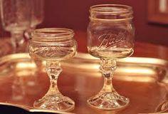 Mason jar wine glasses.