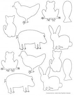 Fun for kids to color or transf… Free printable farm animal silhouette templates. Fun for kids to color or transform into any craft or art project. Animal Templates, Applique Templates, Applique Patterns, Printable Templates, Felt Patterns, Free Printables, Farm Paintings, Animal Paintings, Projects For Kids