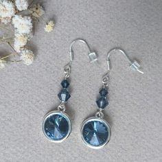 Boucles d'oreilles argent 925 et cristaux Swarovski Denim blue (bleu foncé)