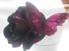 Aubergine purple and pink rose dramatic by SarahMaiDesigns on Etsy, Fascinator Hats, Fascinators, Cocktail Hat, All Things Purple, Classic Style Women, Purple Butterfly, Headgear, Pretty Flowers, Wedding Styles