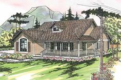Country Front Elevation Plan #124-164 - Houseplans.com