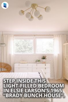 """Step Inside This Light-Filled Bedroom in Elsie Larson's 1965 """"Brady Bunch House"""". This before and After is breathtaking! #homedecor #interiordesign #homeinspo #decorating #bedroomdecor #bedroomideas"""