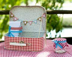Custom bag / urn wedding |esprit guiguette| in red gingham